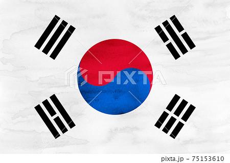 韓国  国旗 水彩 和紙 75153610