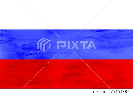 ロシア  国旗 水彩 和紙 75154306