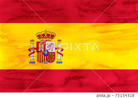 スペイン  国旗 水彩 和紙 75154316