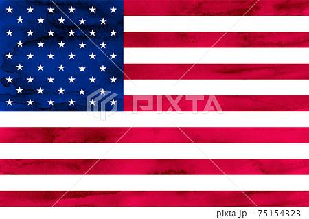 アメリカ  国旗 水彩 和紙 75154323