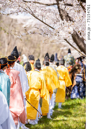 春に賑わう伝統的な日本和装を着た人々 75154761