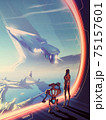 A futuristic vector illustration of a woman and robot looking outside the window that has the massive starship is flying up and the urban scenery on another planet. 75157601