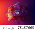 A futuristic vector illustration of a powerful female artificial intelligence technology 75157665