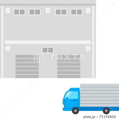 倉庫と大型トラック 75159802