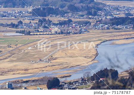 四方山から見た角田滑空場と阿武隈川 宮城県山元町 75178787
