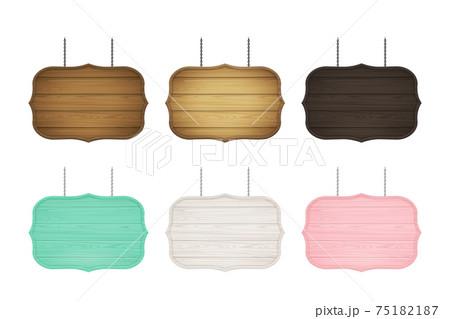 木製フレームの看板のセット 75182187