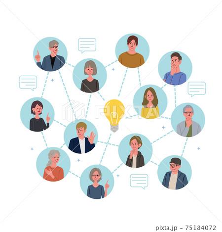 ITコミュニケーション ビジネスコンセプト 人々とアイディアのイラスト 75184072