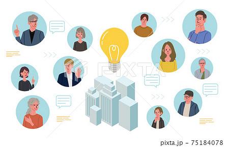 コミュニケーション ビジネスコンセプト ビルと人々のイラスト 75184078