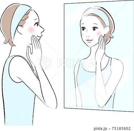 鏡を見る女性のイラスト 75185602