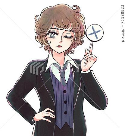 レトロ少女漫画風・バツ札を持つがっかり顔の美少年 75188923