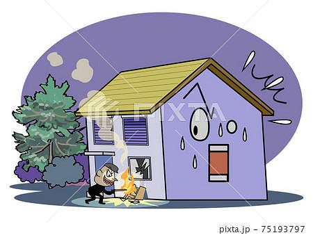 空き家問題-人気の無い家に放火される 75193797