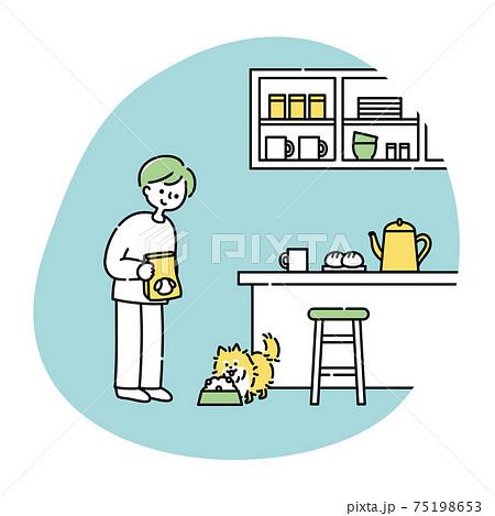キッチンで犬にごはんをあげる男性 75198653