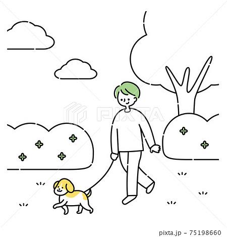 犬と公園を散歩する男性 75198660
