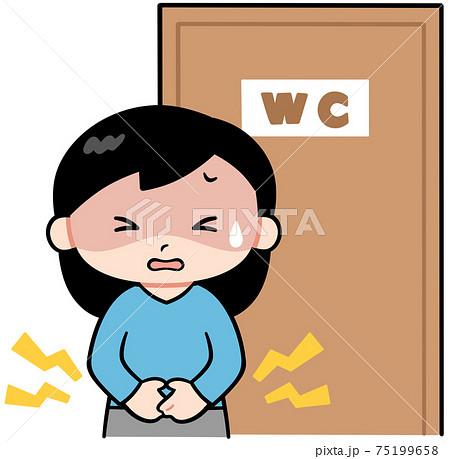 トイレの前でお腹をおさえ苦しむ女性 75199658