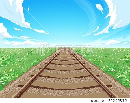 まっすぐな線路と草原の風景_春_背景イラスト 75206356