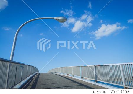 晴天下の千葉県木更津市にある中の島大橋と街灯 75214153