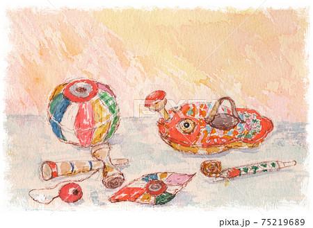 紙風船や金魚じょうろのレトロなおもちゃ 75219689