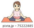 ヨガ安楽座のポーズをする女性のイラスト 75222885