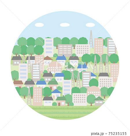 シンプルな初夏のフリーマーケットの背景イラスト たくさん建物と木がある円形バージョン 75235155