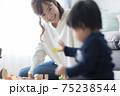 1歳児と遊ぶお母さん 75238544