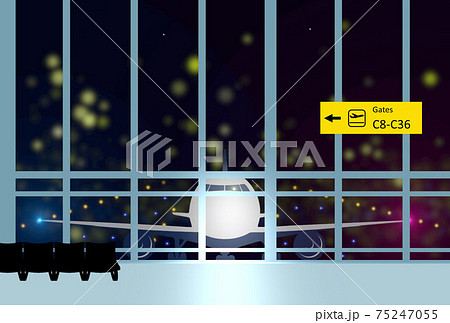 空港 出発 ターミナル 飛行機 夜の空港 75247055
