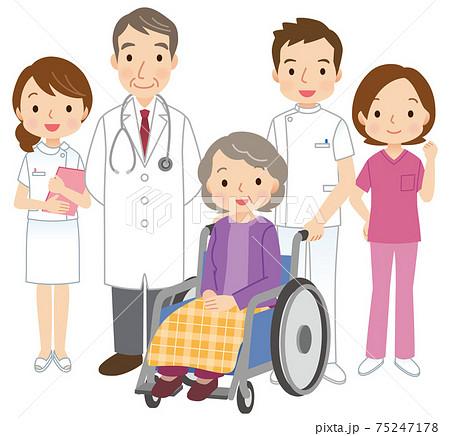 介護 高齢者と病院関係の人たち 75247178