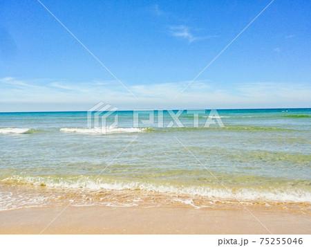 遠浅の透明なエメラルドグリーンのきれいな海 75255046