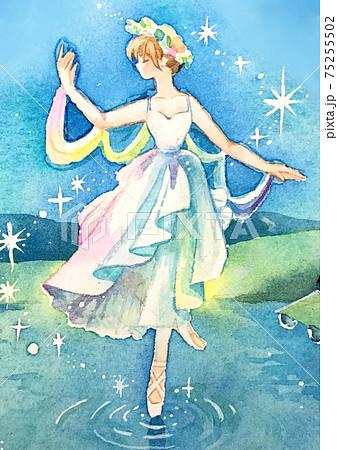 夜の湖でバレエをする妖精 人物アップ 75255502
