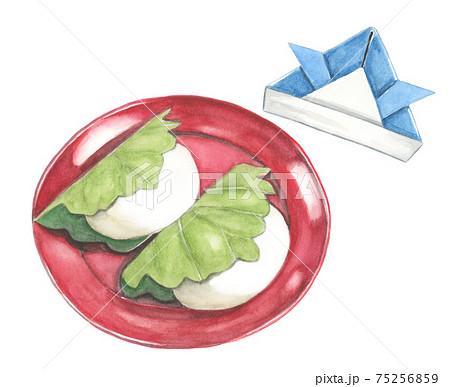 柏餅と折り紙兜 端午の節句イメージ 【手描き水彩画】 75256859