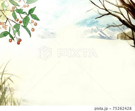 背景素材 雪景色の水彩イラスト 75262428