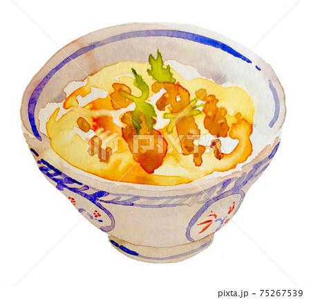 カツ丼手描き水彩イラスト 75267539