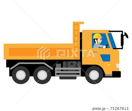 ダンプカー(トラック)を運転する男性作業員 75267613