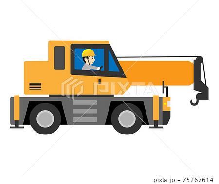 ラフテレーンクレーン(ラフタークレーン・クレーン車)を運転する男性作業員 75267614