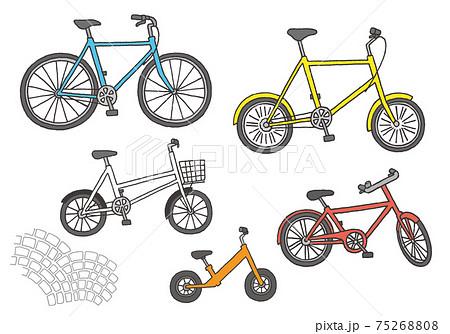 自転車の手描きイラストセット(カラー) 75268808