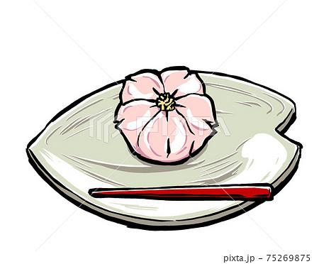 桜の花びら型の取り皿の上の桜の練り切りと朱塗りの菓子楊枝 筆描き・マット塗り 75269875