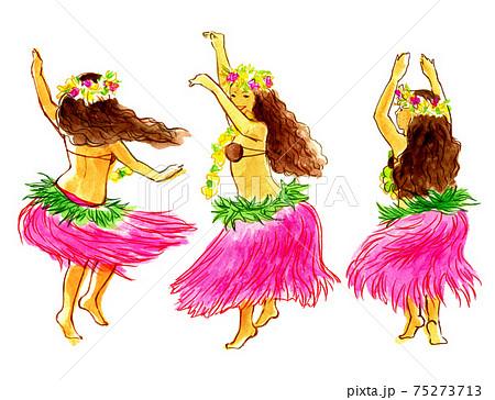 タヒチアンダンスを踊る女の子たち 75273713