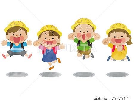 ジャンプする小学生の子供たち 水彩 75275179