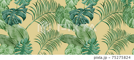 トロピカル南国風植物連続背景パターン 75275824