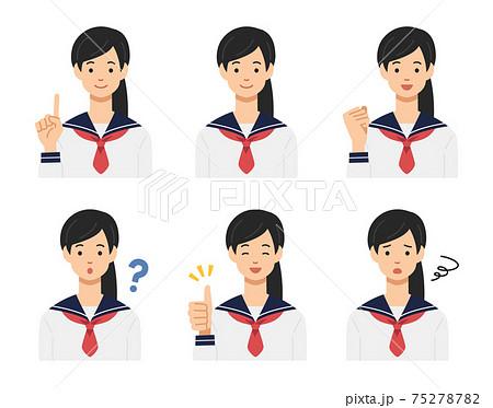 いろいろなポーズの女子学生 75278782