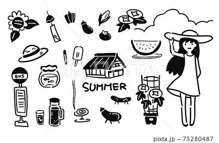 懐かしい 夏のゆるい線のイラスト 75280487