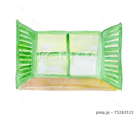 開いた窓の水彩イラスト 75283515