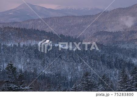 双岳台から見る阿寒の樹海と双湖台の小屋(北海道) 75283800