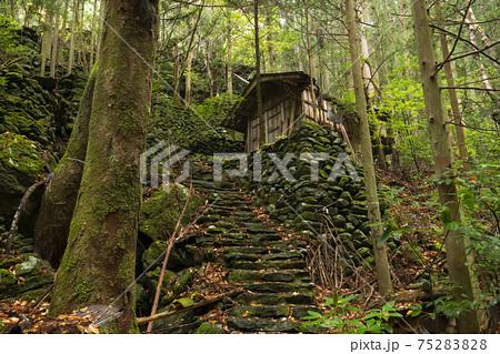 東之川集落の石垣と廃屋(愛媛県) 75283828
