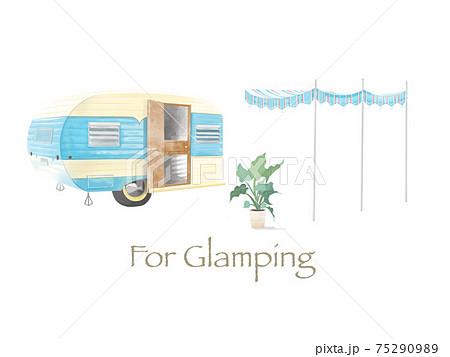 楽しいキャンプで使えるキャンプトレーラーとテントのイラスト素材 75290989