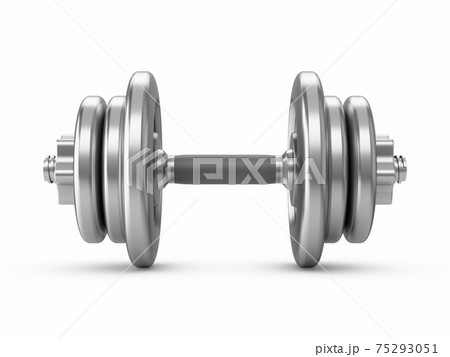 3D rendering metal dumbbells isolated on white background 75293051