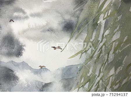 柳と靄のかかった風景の水彩イラスト 75294137