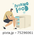 Man Put Plastic Containers with Vegetables or Products into Small Fridge or Freezer. Refrigerator for Freezing Food 75296061