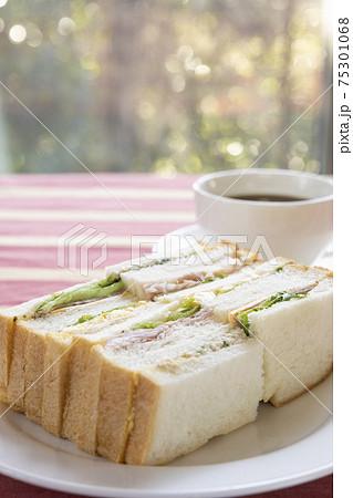 おいしいミックスサンドイッチとホットコーヒー 75301068