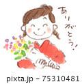 卒業、お祝い、感謝:花束を受け取り「ありがとう」と笑顔の和服女性(水彩イラスト) 75310481