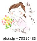 卒業、お祝い、感謝:花束を受け取り「ありがとう」と笑顔の和服女性(水彩イラスト) 75310483
